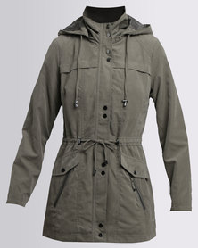 Queenspark Woven Suede Casual Coat with Hardware Detail Fatigue