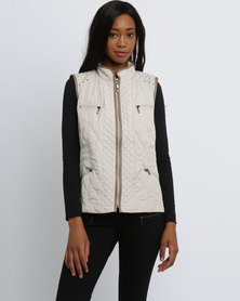 Queenspark Sleeveless Woven Puffer Jacket With Tipping Stone