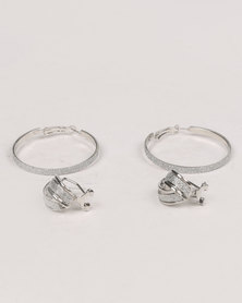 Queenspark 2 Pack Glitter Earring Set Silver-tone