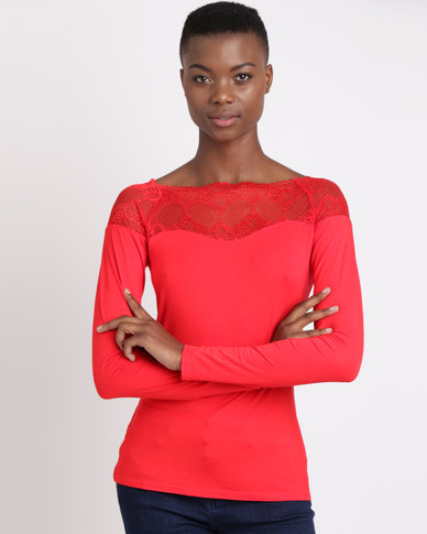 Queenspark Marilyn Lace Trim Core Knit Top Red