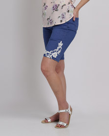 Queenspark Lace Trim Woven Denim Shorts Blue