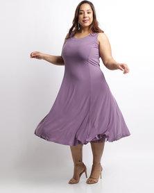 Queenspark Plus Flared Trim Knit Dress Lilac