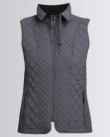 Queenspark Fancy Quilt Gilet Woven Jacket Silver
