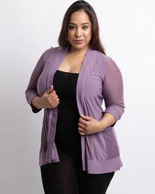 Queenspark Plus Lace & Knit Combo Jacket Lilac