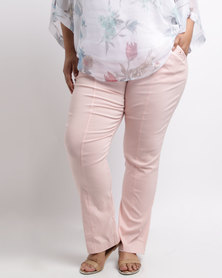 Queenspark Plus Eyelet Detail Stretch Woven Pants Peach