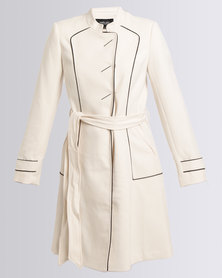 Queenspark Cath.Nic Military Styled Woven Coat Cream