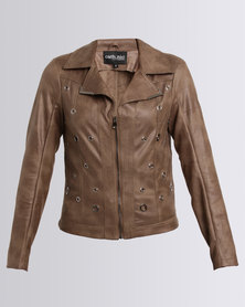 Queenspark Cath.Nic Eyelet Detailed Pleather Woven Jacket Fatigue