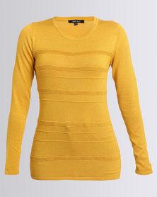Queenspark Cath.Nic Surface Interest Crewneck Knitwear Mustard