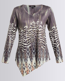 Queenspark Cath.Nic Feather Print Asymmetrical Knit Top Black/White
