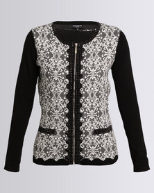 Queenspark Scroll Design Knit Jacket Black