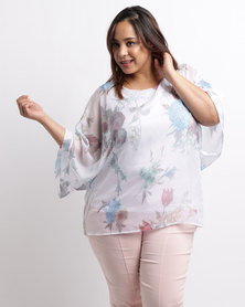Queenspark Plus Soft Floral Woven Blouse White
