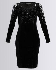 Queenspark Velour Embellished Glam Knit Dress Black