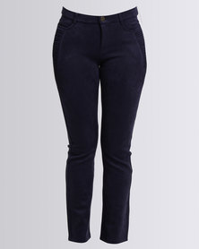 Queenspark Sueded Woven Long Casual Trouser With Stitch Detail  Navy