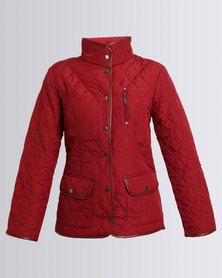 Queenspark Woven Long Sleeve Puffer Jacket Red