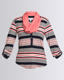 Queenspark Stripe Fashion Knit Top With Snood Coral