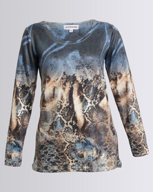 Queenspark Border Floral Printed Beaded Knit Top Blue
