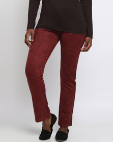 Queenspark Suede Woven Long Casual Trouser With Stitch Detail  Burgundy