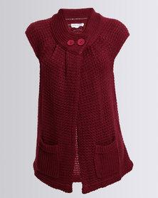 Queenspark Sleeveless Tabard Knitwear Style Burgundy