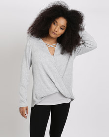 Queenspark Cath.Nic Wrap Front Knit Top Grey