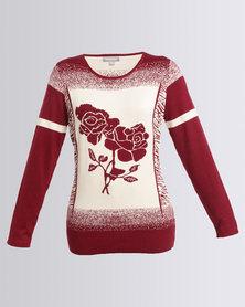 Queenspark Rose Design Intarsia Jersey Burgundy