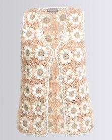 Queenspark Crochet Sleeveless Jersey Pink