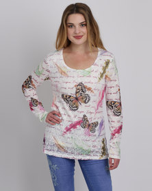 Queenspark Scribble Butterfly Fashion Knit Top Cream