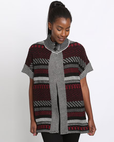 Queenspark Tabard Knitwear Style Burgundy