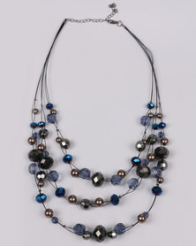 Queenspark 3 Strand Crystal & Stone Necklace Blue