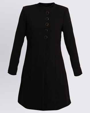 Queenspark Military Style Woven Coat Black