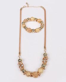 Queenspark Mesh & Metal Combo Bracelet & Necklace Set Gold-tone