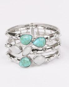 Queenspark Stone & Diamante Trim Cuff Silver-tone