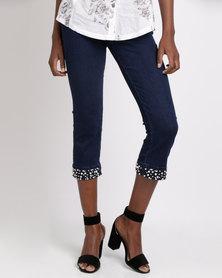 Queenspark Pearl & Diamante Cuffed Woven Capri Jeans Indigo