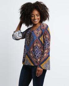 Queenspark Patchwork Print Knit Top Multi