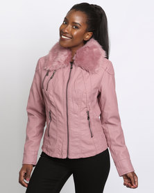 Queenspark Woven Pleather Jacket With Detachable Fur Collar Pink