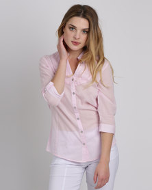 Queenspark Working Girl Woven Shirt Pink