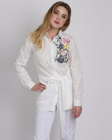 Queenspark Wrap Embroidered Woven Shirt White