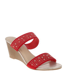 Queenspark Double Band Mule On Sprayed Stack Heel Red