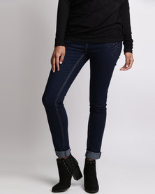 Queenspark Cath.Nic Longer Stone Detailed Woven Denim Jeans Blue
