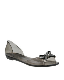 Queenspark Updated Jelly Pumps with Diamante Baguette Bow Charcoal