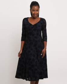Queenspark Flocked Large Rose Design Knit Dress Navy