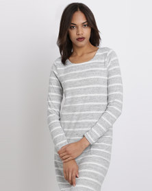 Queenspark Cath.Nic Striped Pocket Detail Knit Dress Grey
