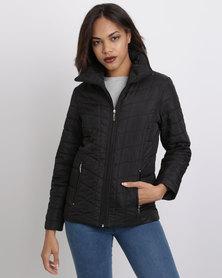 Queenspark Diamante Detail Puffer Woven Jacket Black