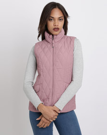 Queenspark Flap Pocket Quilted Gilet Woven Jacket Lilac