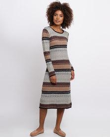 Queenspark Cath.Nic Chevron Printed Knit Dress Multi
