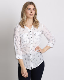 Queenspark Anchor Print Woven Shirt White