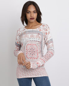 Queenspark Printed Round Neck Knitwear Style With Iron On's Cream