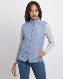 Queenspark Sleeveless Woven Puffer Jacket With Zip Detail Blue