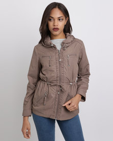 Queenspark Woven Casual Jacket With Special Collar And Zips Mocha