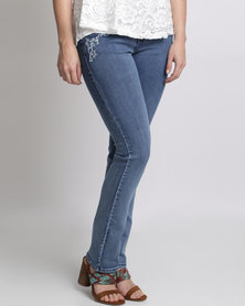 Queenspark Fancy Stitch & Diamond Woven Denim Jeans Blue