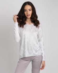 Queenspark Camouflage Voil Design V-Neck Knitwear White